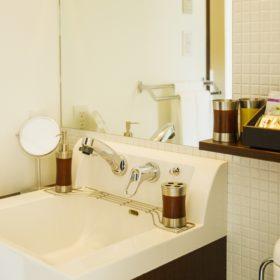 <p>洗面所・トイレスペース。その先の独立したバスルームは洗い場付きです。</p>