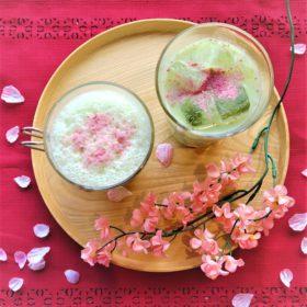【1Fカフェ】期間限定メニュー「さくら抹茶ミルク」